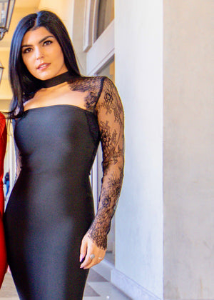 Bandage 'Wrapped in Lace' Long Sleeve Dress