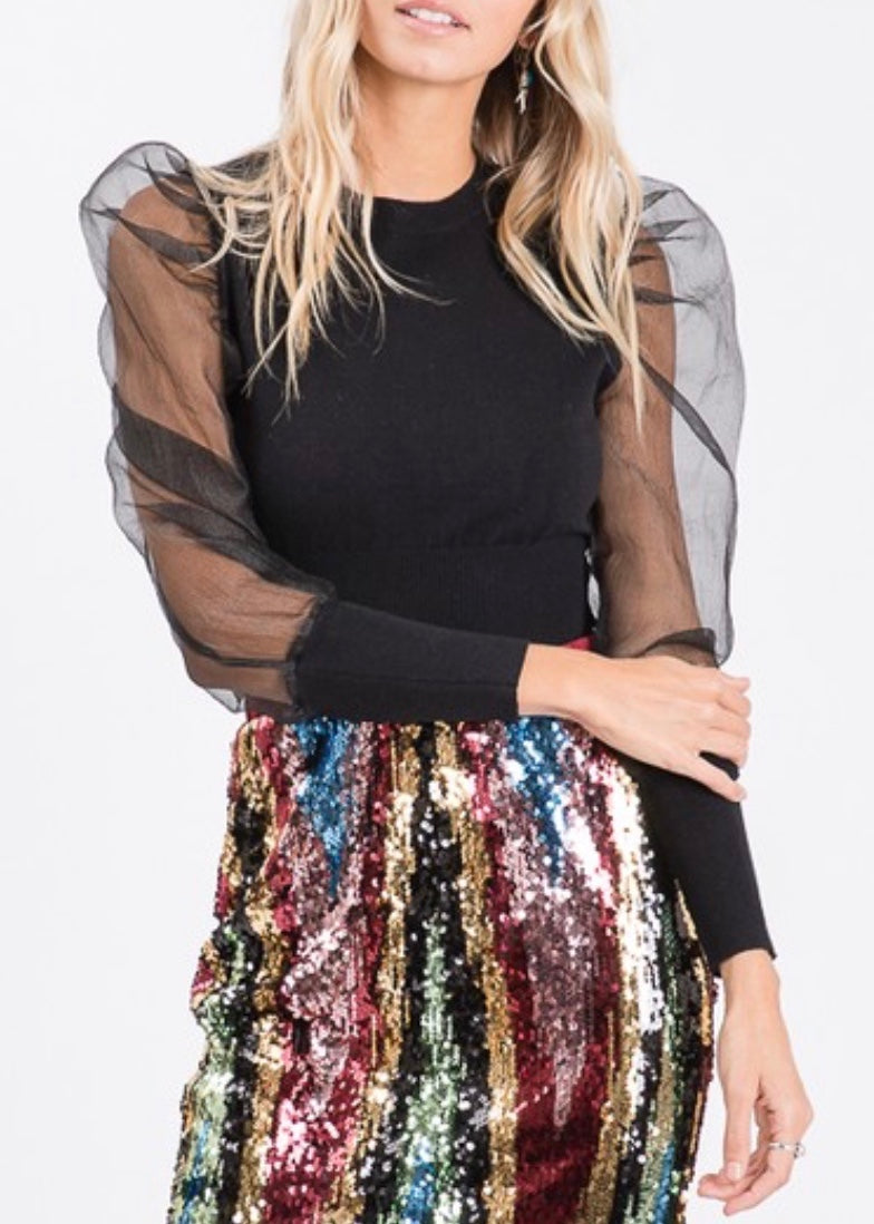 Black Tulle Sleeve Sweater