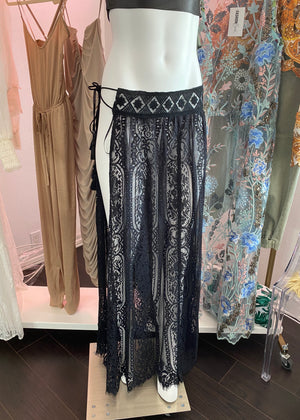 Lace Side Tie Sarong Cover Up
