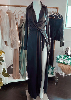 Black Silky Wrap Maxi