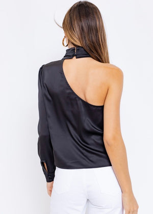 Mock Neck One Shoulder Blouse