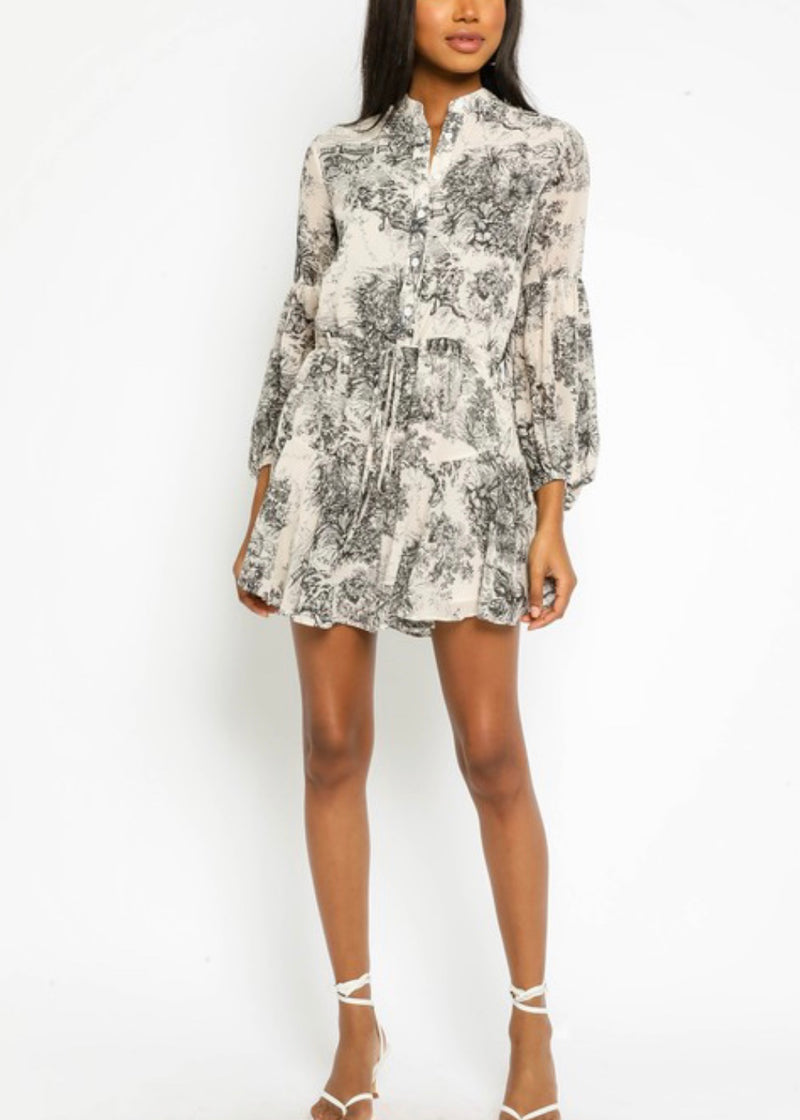 Tropical Toile Drawstring Dress