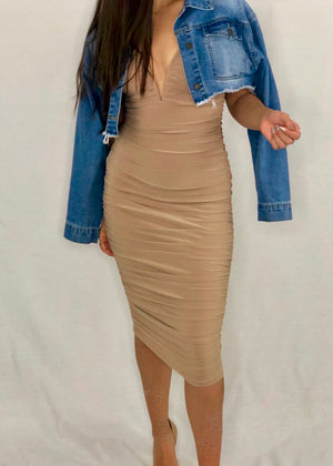 Ruched to Perfection Midi Dress