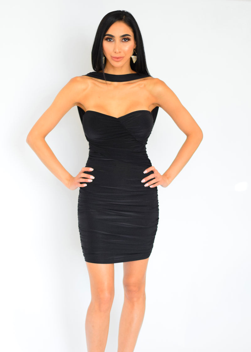 Ruched No Necklaces Needed Black Mini Dress