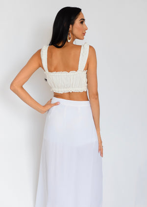 White Mykonos Crop Top