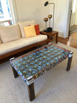 Coffee Table with Black and Blue Flowers
