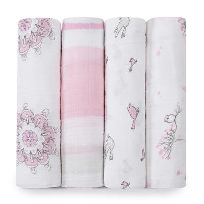 Classic Swaddles by Aden + Anais | For the Birds 4 Pack