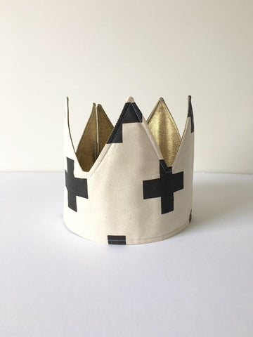 HAND PRINTED CROSS FABRIC CROWN by LE PETIT RENARD ROUGE