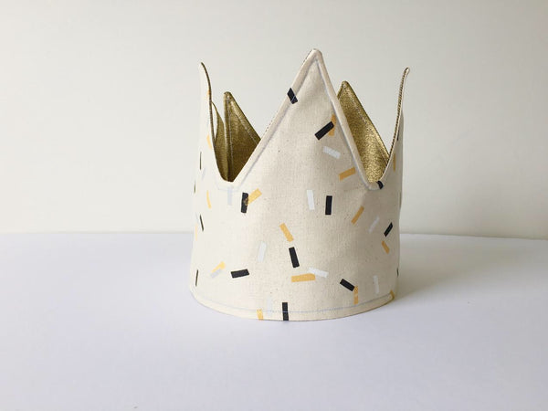 HAND PRINTED SPRINKLES FABRIC CROWN by LE PETIT RENARD ROUGE