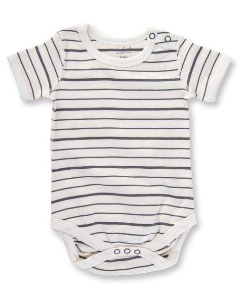 Charcoal French Stripe Short Sleeve Bodysuit by Sapling