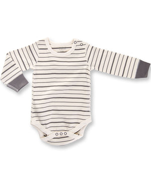Charcoal French Stripe Long Sleeve Bodysuit by Sapling