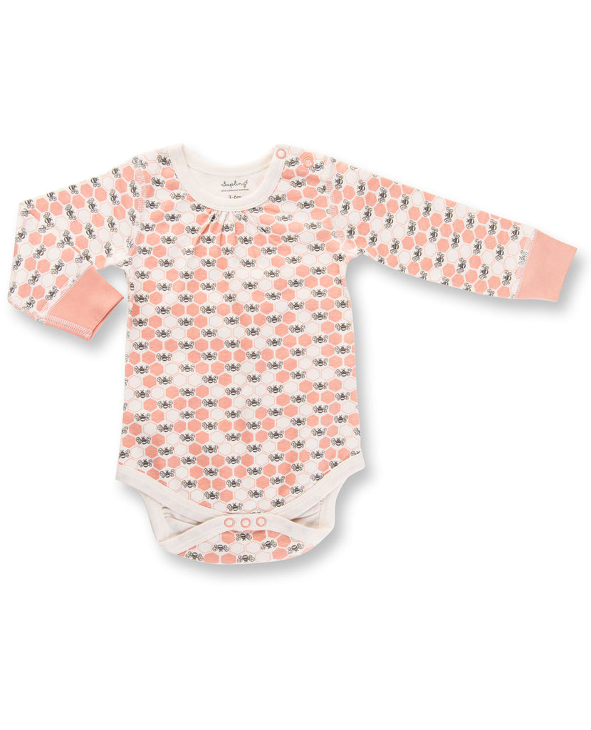 Peach Blossom Bees Long Sleeve Bodysuit by Sapling