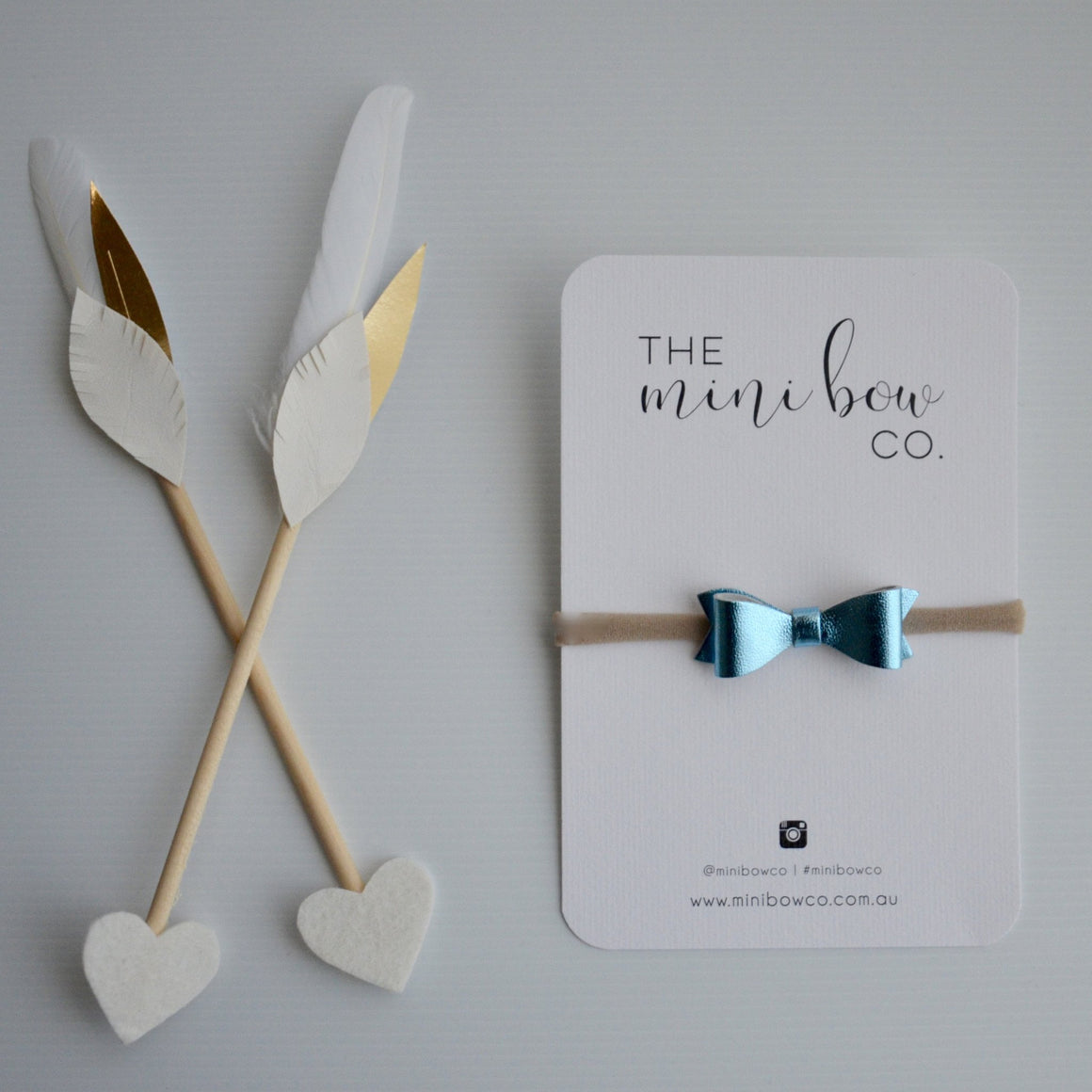 Mini Bow - Metallic Blue