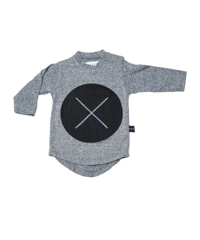 Circle Cross Long Sleeve Tee by Huxbaby