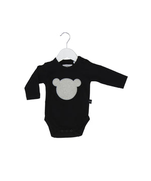 Shadow Bear applique L/S bodysuit by Huxbaby