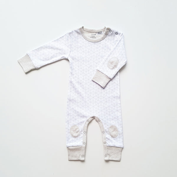 White Hexagon Contrast Patch Romper by Anarkid