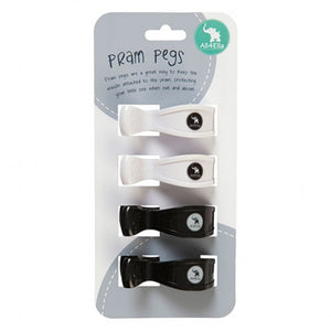 Quad Pack White/Black Pram Pegs by All4Ella