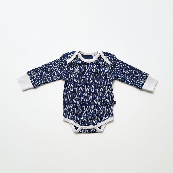 Ink Navy Paint Long Sleeve Bodysuit by Anarkid
