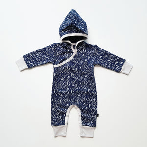 Ink Navy Paint Fleece Hooded Romper by Anarkid