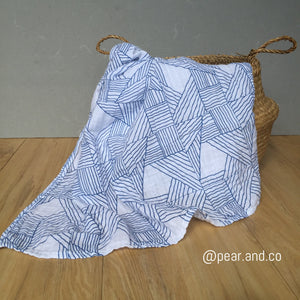 Organic Muslin Swaddle - Navy Origami by Pear & co.
