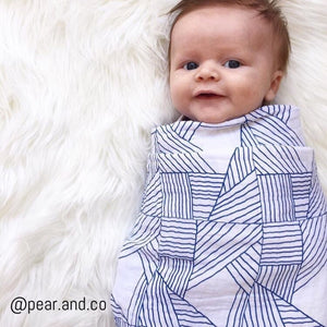 Organic Pack - Fitted Cot Sheet & Swaddle Wrap - Navy Origami by Pear & Co.