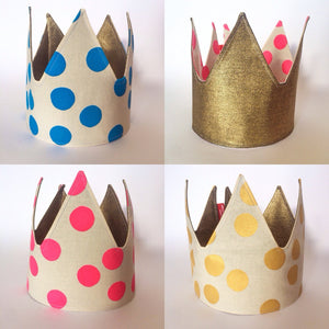 HAND PAINTED SPOTS FABRIC CROWN by LE PETIT RENARD ROUGE