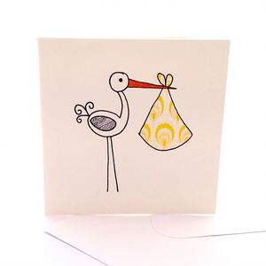 Baby Stork Gift Card by Sketchy