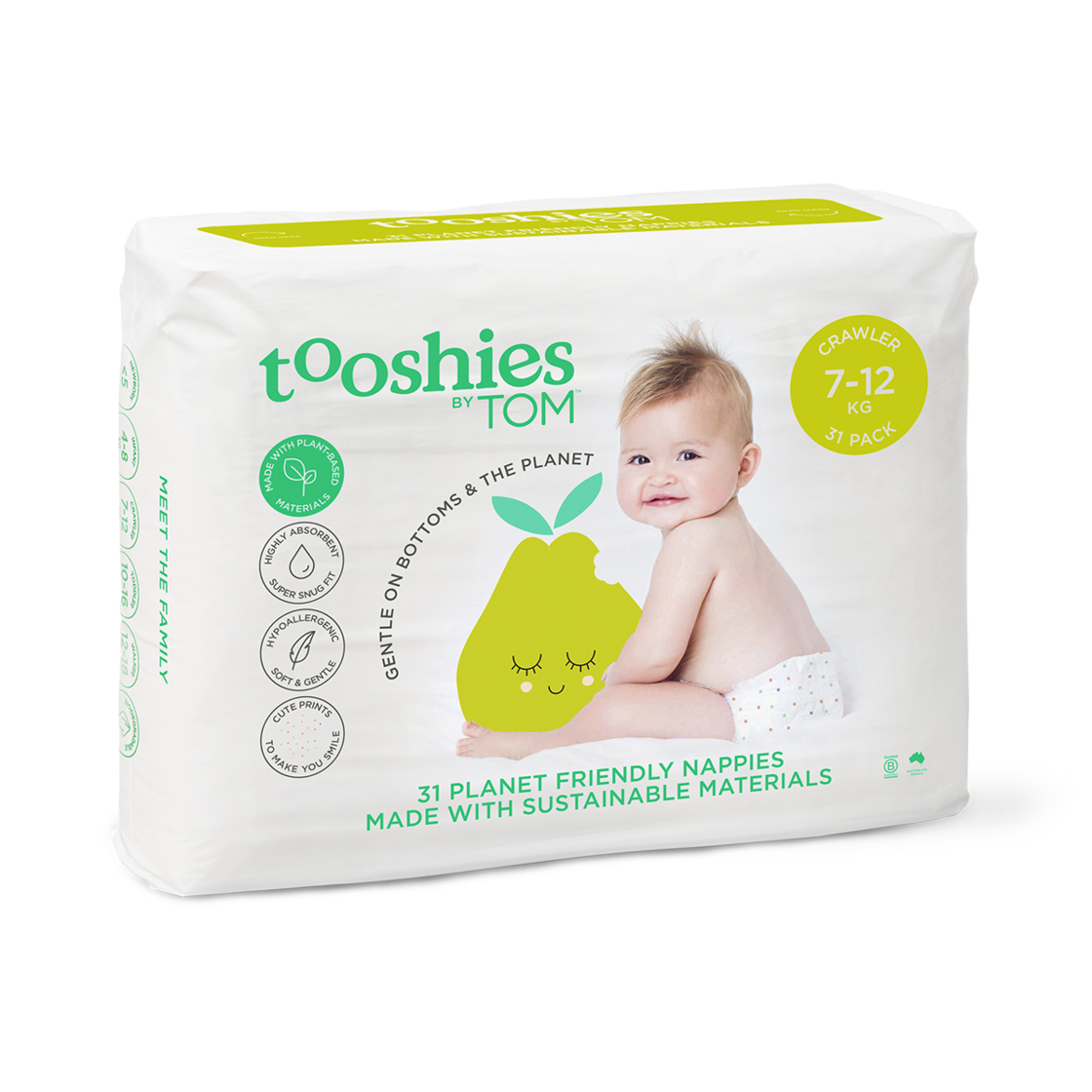 Eco Nappies – Infant 7-12 kg, 31 pcs by Tooshies by TOM