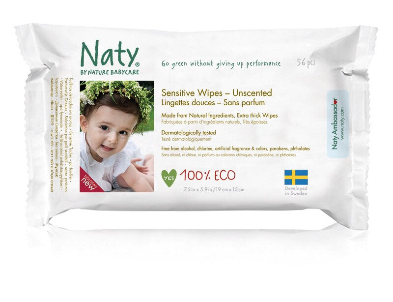 Eco Wipes – Sensitive and Unscented (56 pcs) by Naty