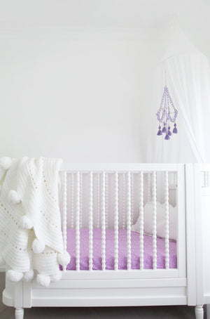 Organic Fitted Cot Sheet - Lilac Dream by Pear & Co.