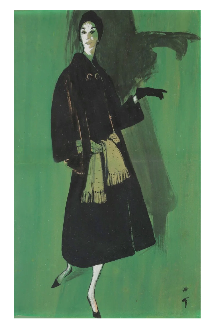 René Gruau (1909-2004) Jean Dessès Couture 1957, gouache on paper, signed, inscribed verso