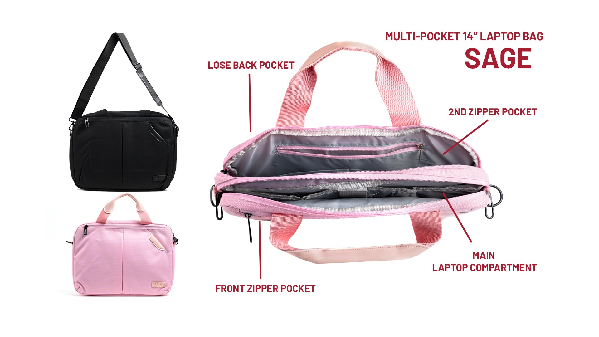 "The Sage Laptop Bag 14"" in Pink"