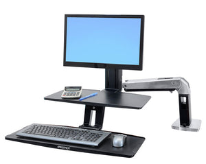 "WorkFit-A with Suspended Keyboard, LD, 5"" and WS, Polished Aluminum - TechExpress"