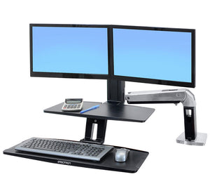 "WorkFit-A with Suspended Keyboard, Dual, 5"" and WS, Polished Aluminum - TechExpress"