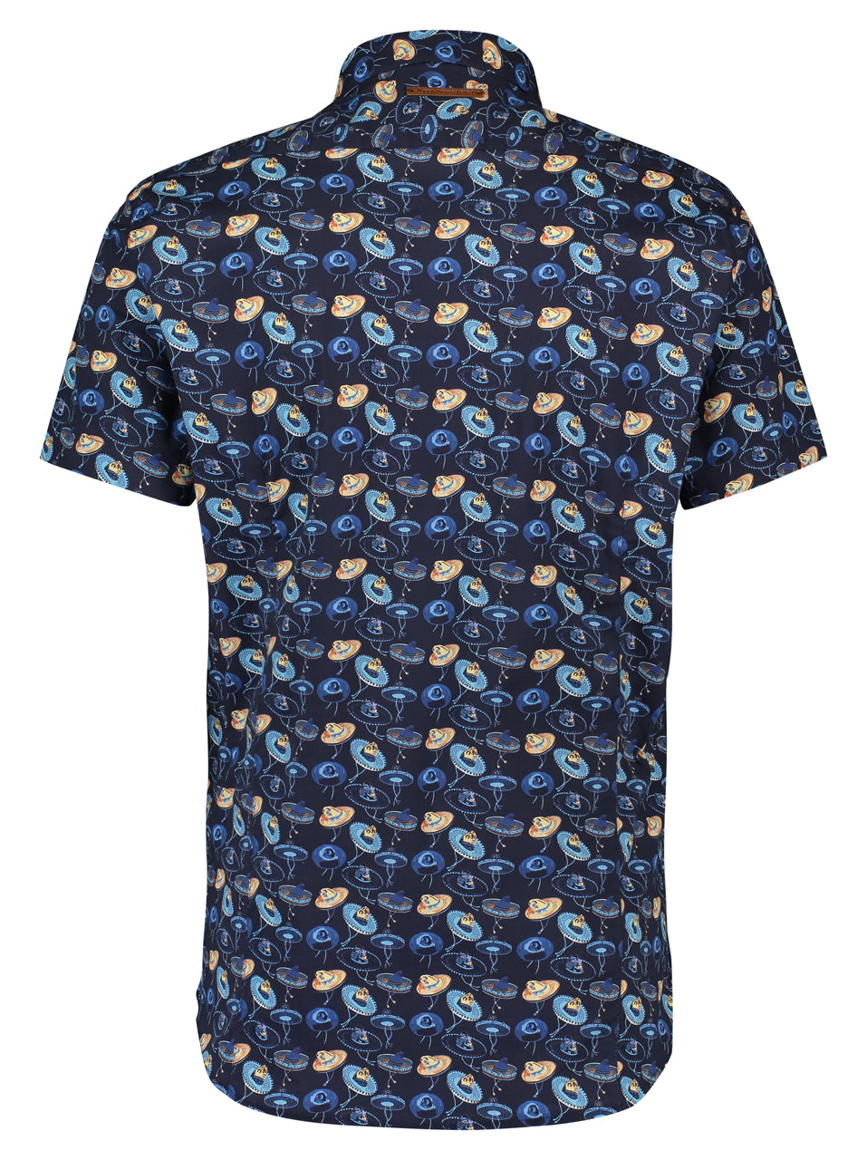 A Fish Named Fred Short Sleeve Shirt - Sombrero Print in Navy - MitchellMcCabe