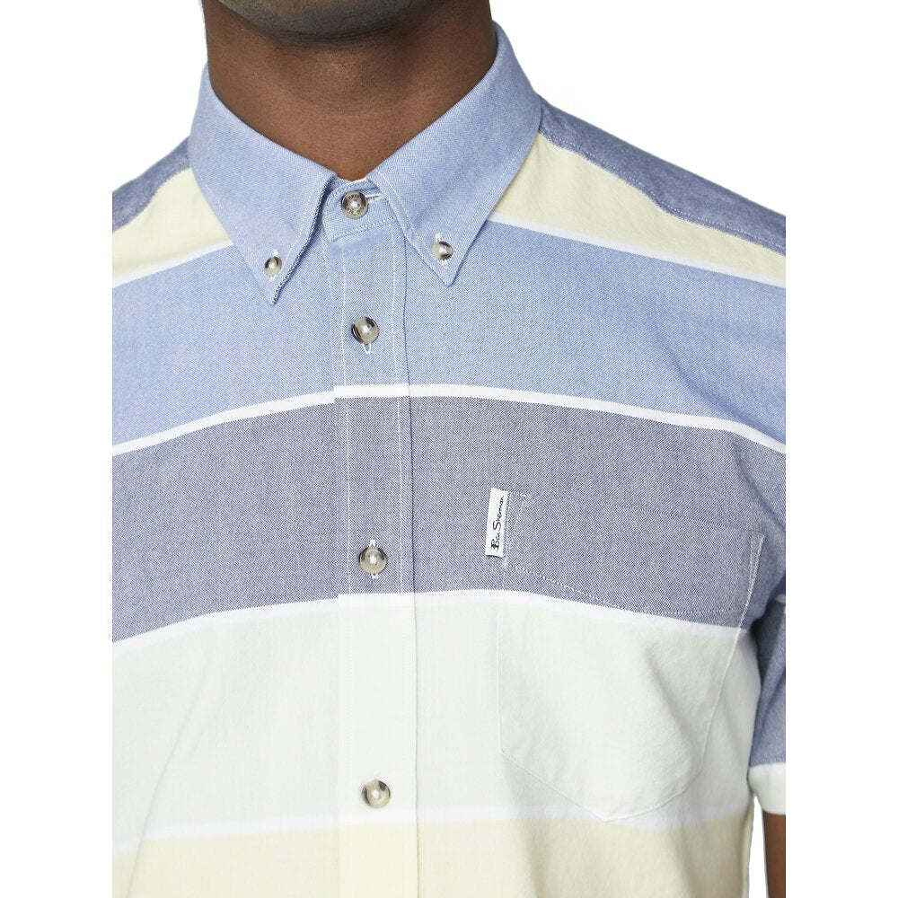 Ben Sherman Short Sleeve Engineered Stripe - Sky
