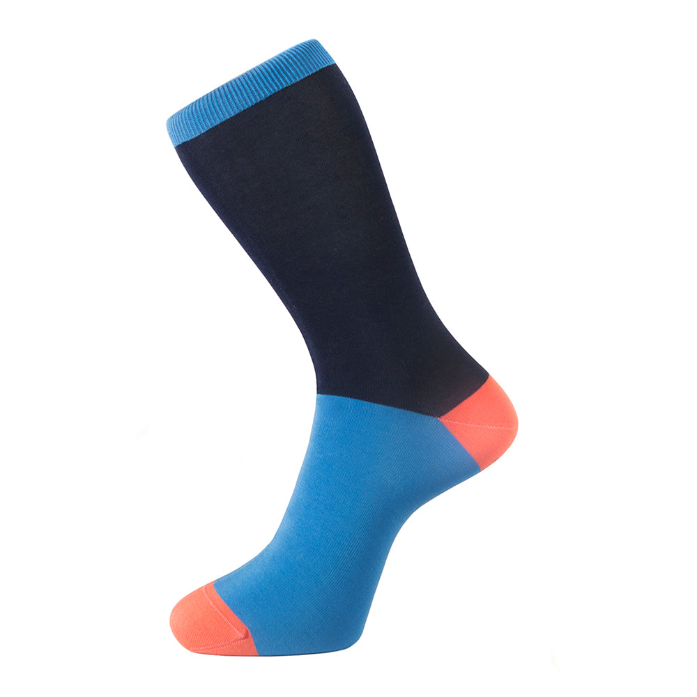 Fortis Green Block Colour Sock in Navy Blue