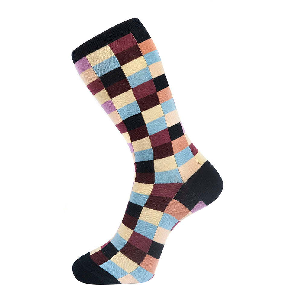 Fortis Green Block Check Pattern Sock in Navy Blue - Mitchell McCabe Menswear