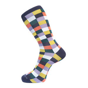Fortis Green Block Check Pattern Sock in Purple