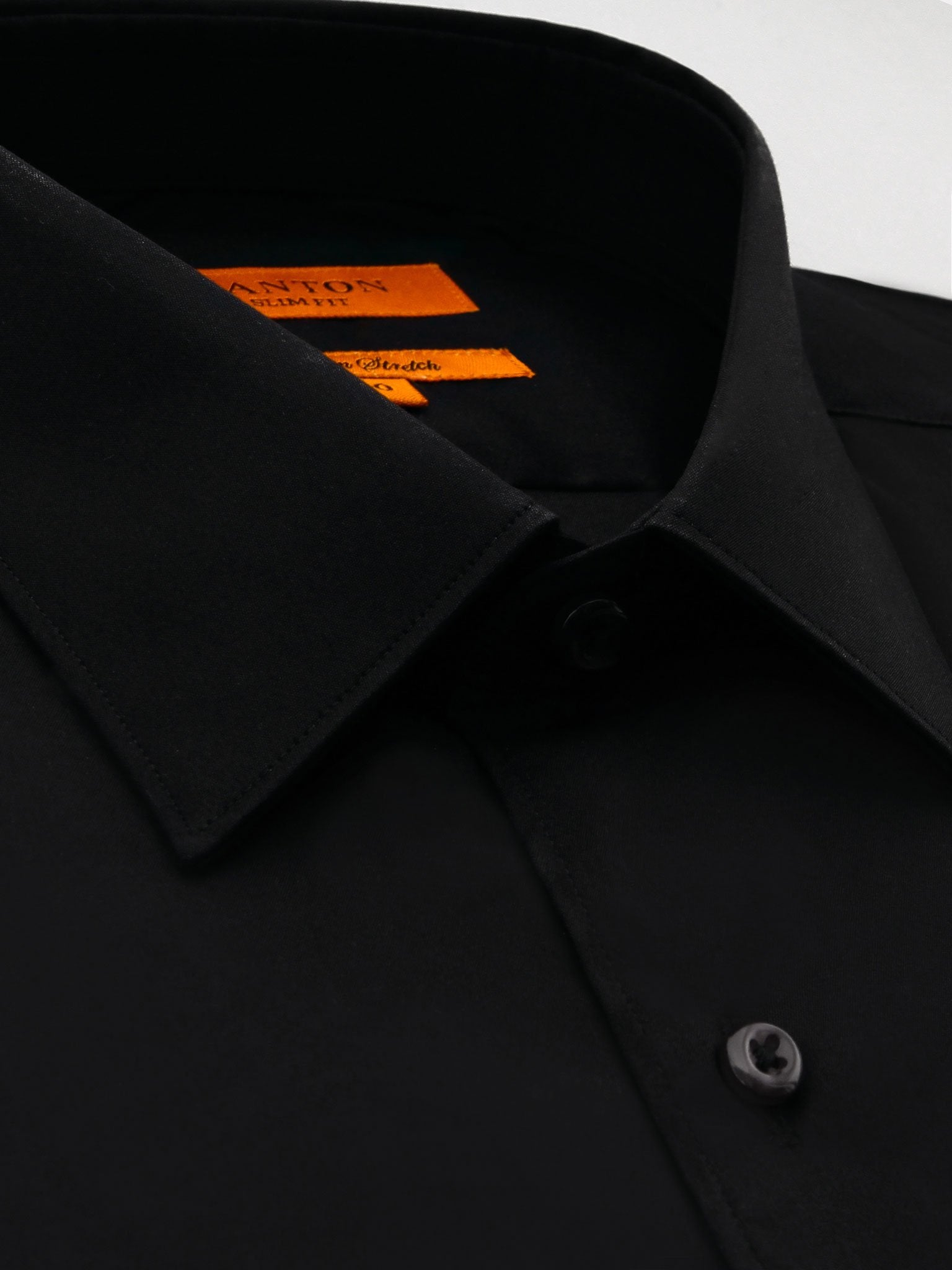 Ganton Slim Fit Stretch Poplin - Black - MitchellMcCabe