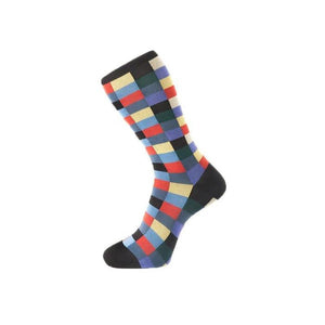 Fortis Green Block Check Pattern Sock in Black - MitchellMcCabe
