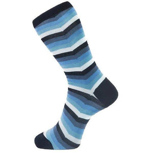 Fortis Green Chevron Stripe Pattern Sock in Blue - MitchellMcCabe