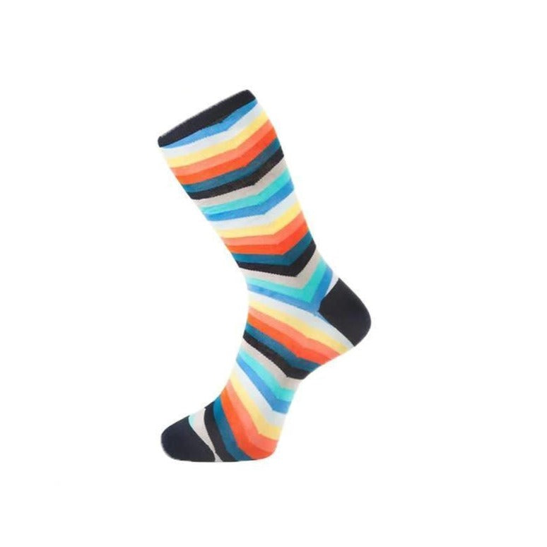 Fortis Green Chevron Stripe Pattern Sock in Multi - Mitchell McCabe Menswear