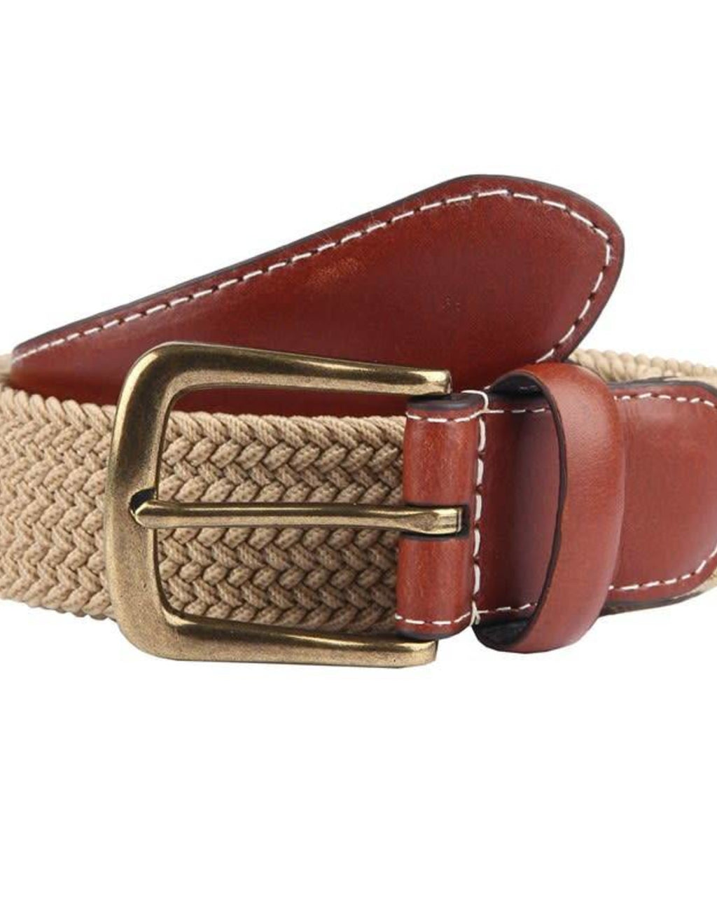 Dents Elasticated Casual Belt - Stone - MitchellMcCabe