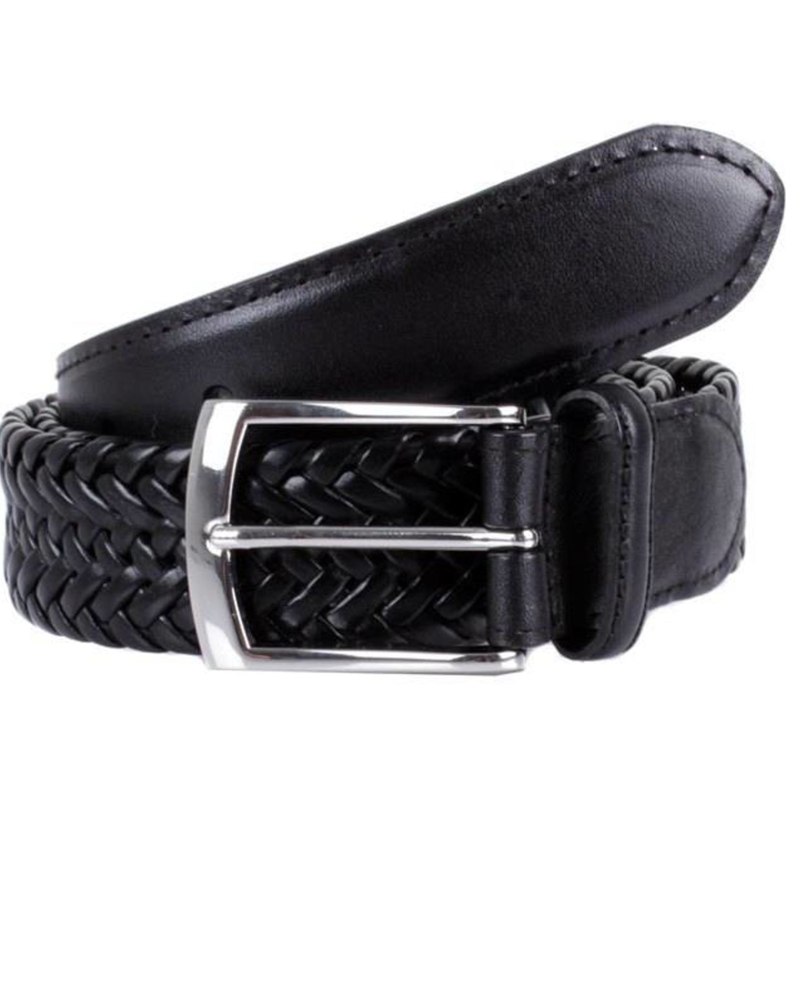Dents Plaited Leather Casual Belt - Black - MitchellMcCabe