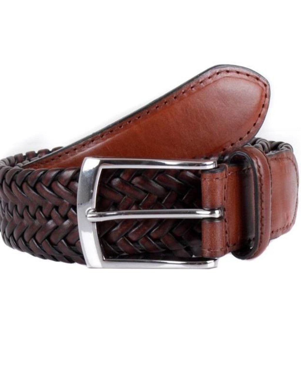 Dents Plaited Leather Casual Belt - Brown - MitchellMcCabe