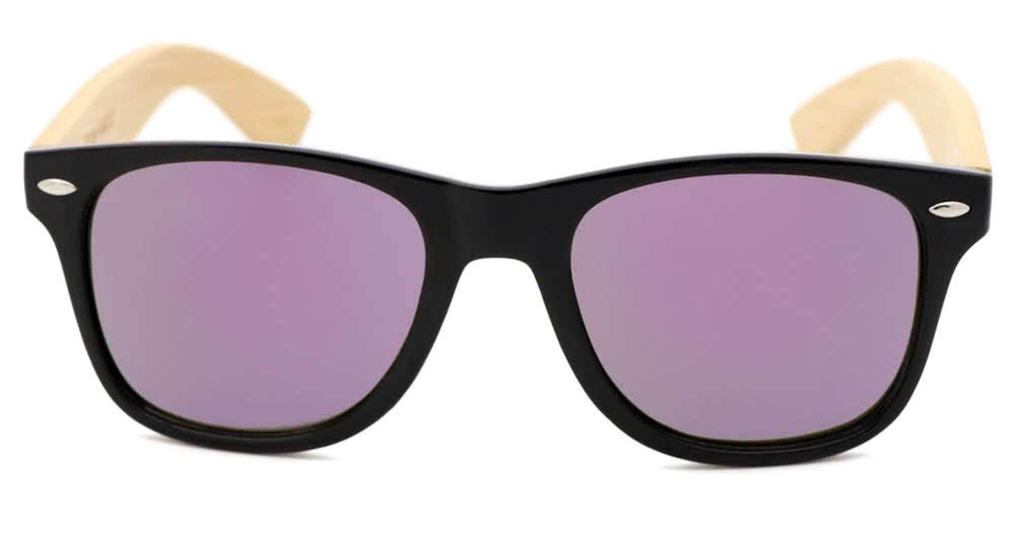 Black & Purple  Bamboo Wood Sunglasses