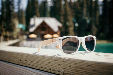 White & Black Wood Sunglasses