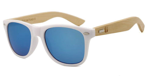 White Framed Ice Blue Wood Sunglasses