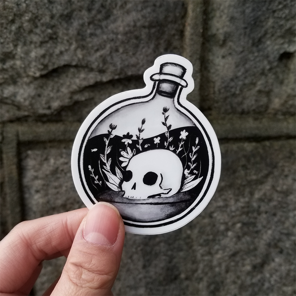 Skull Bottle Vinyl Stickers